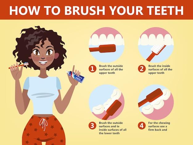 So putzen sie ihre zähne schritt für schritt. zahnbürste und zahnpasta für die mundhygiene. reinigen sie den weißen zahn. gesunder lebensstil und zahnpflege. illustration