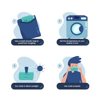 So reinigen sie wiederverwendbare gesichtsmasken infografik
