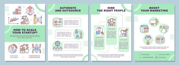 So skalieren sie die vorlage für eine startup-broschüre. automatisieren und auslagern. flyer, broschüre, broschürendruck, cover-design mit linearen symbolen. vektorlayouts für präsentationen, geschäftsberichte, anzeigenseiten