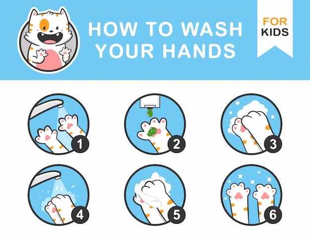 So waschen sie ihre hände anleitung für kinder mit katze pfote konzept illustration.