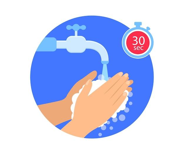 So waschen sie ihre hände. händewaschen mit seife. desinfektion.