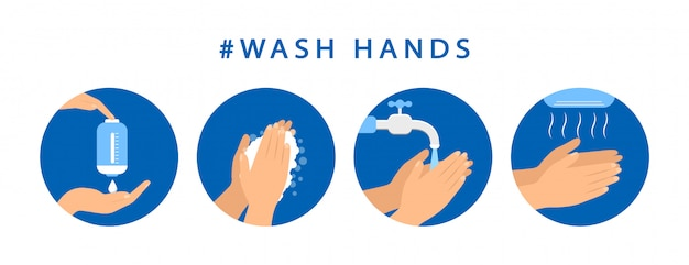 So waschen sie ihre hände. schrittanleitung hand waschen. vorsichtsmaßnahmen. flaches design.