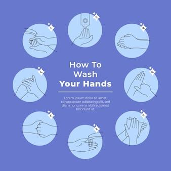 So waschen sie ihre hände vorlage
