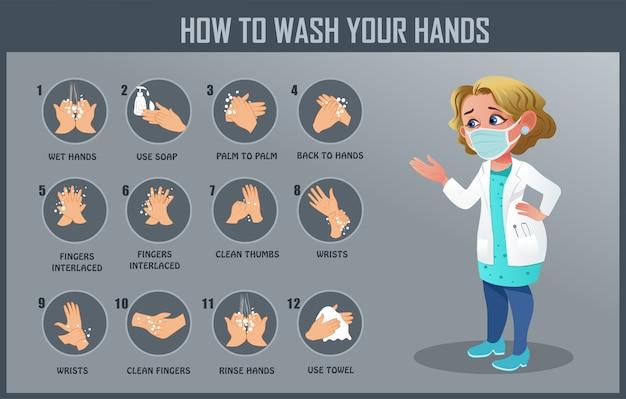 So waschen sie ihre hand, handwaschschritte, vorbeugende maßnahmen von new coronavirus