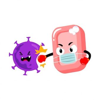 Soap character punching coronavirus