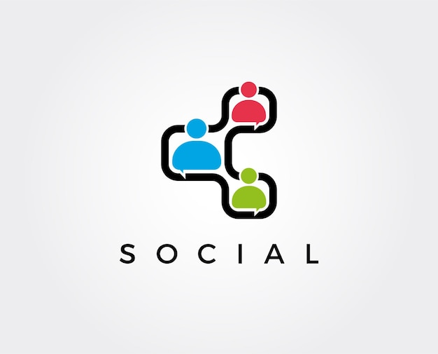 Social connect connecting people logo-vorlage