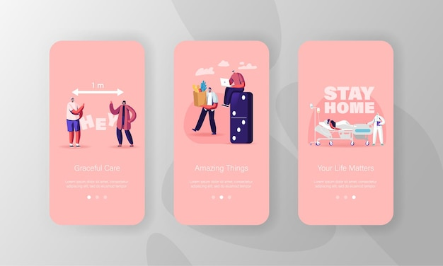 Social distance mobile app-seitenbildschirmvorlagen.