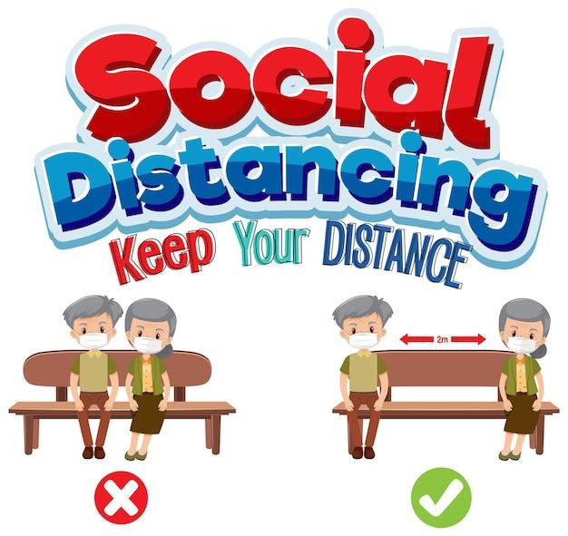 Social distancing banner mit zeichentrickfigur