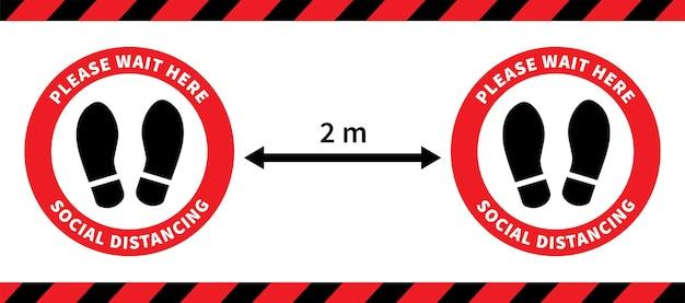 Social distancing footprint-zeichen halten sie den abstand von 2 metern ein