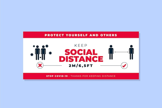 Social distanz banner vorlage