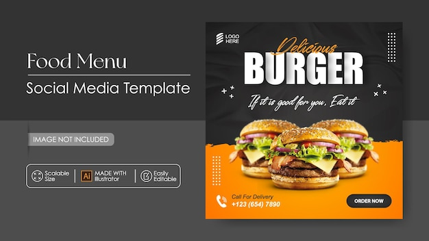 Social food promotion burger food und instagram post design vorlage