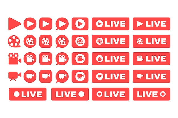 Social live-stream-symbole gesetzt. flache farbillustrationen der online-broadcast-button-idee. web-streaming-paket mit roten abzeichen. vektor isolierte silhouettenzeichnungen