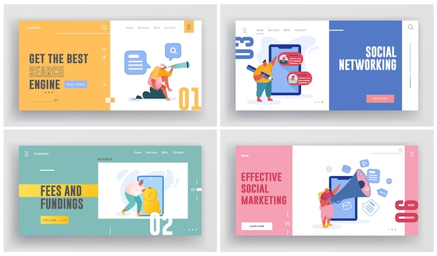 Social marketing, networking illustration
