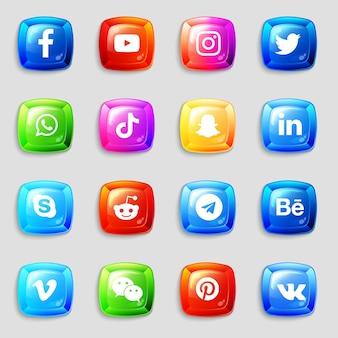 Social media 3d-symbole und logos-sammlungspaket