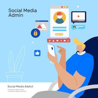 Social media-administrator, der den kundendienst durchführt