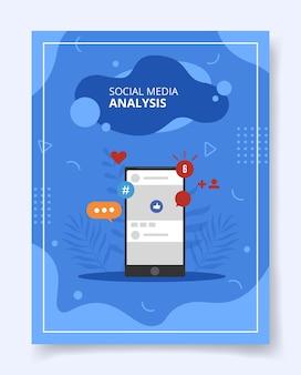 Social media analyse auf smartphone für vorlage des flyers