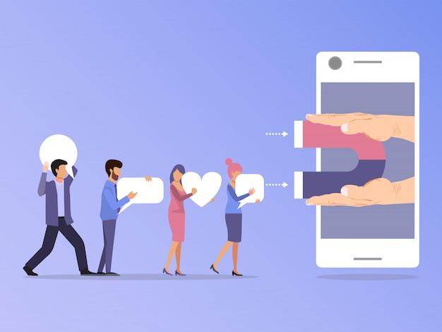 Social media-anhänger und -benutzer angezogen durch magneten in der smartphoneillustration.