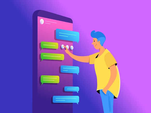 Social-media-app für sms-konzeptvektorillustration eines jungen mannes, der in der nähe eines großen smartphones steht und eine mobile app zum chatten und senden von sofortnachrichten verwendet. lila farbverlaufsbanner mit textfreiraum
