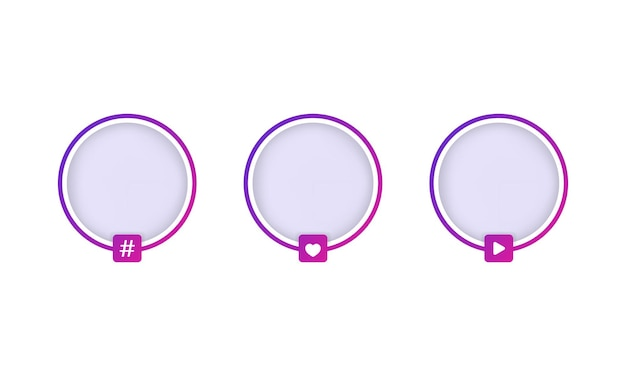 Social media avatar frames set oder geschichte lila grenze