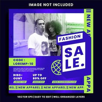 Social media-banner für städtische bekleidungsmode und instagram-post-vorlage