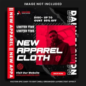 Social media-banner für urban apparel fashion und social media-post-vorlage