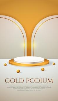 Social media banner mit 3d-produktanzeige gold podium