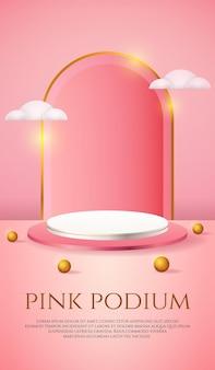 Social media banner mit 3d-produktanzeige rosa podium und weißen wolken