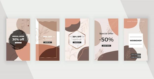 Social media banner mit braunen künstlerischen freihand abstrakten handmalerei formen, linien