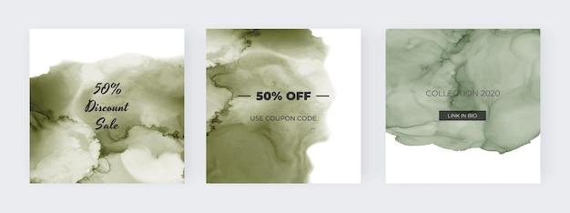 Social media banner mit grünem alkohol tinte aquarell set