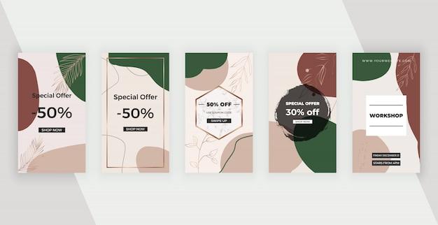 Social media banner mit künstlerischen freihand abstrakten handmalerei formen, linien.