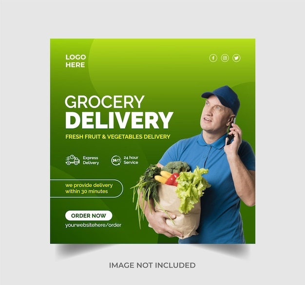 Social-media-banner oder instagram-post-vorlage für die lieferung von gemüse- und obstlebensmittelgeschäften premium-vektor