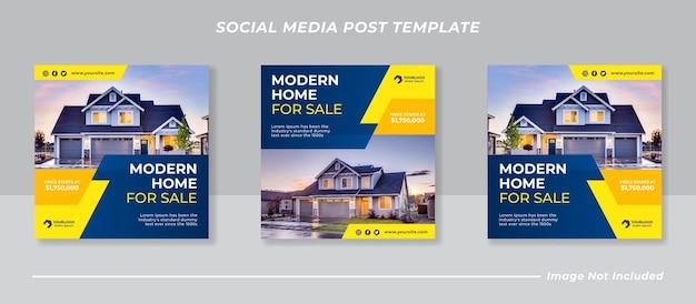 Social-media-banner oder quadratische flyer-vorlage für den immobilienverkauf
