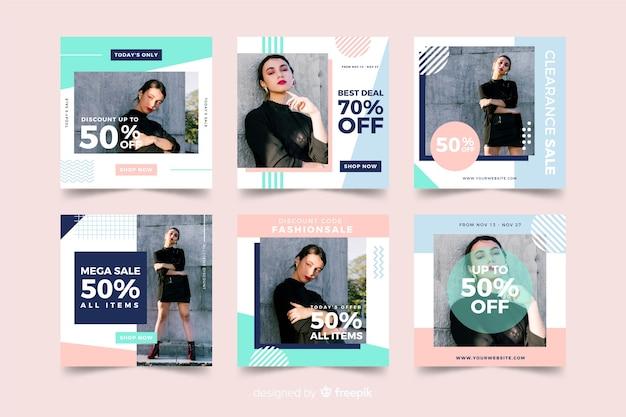 Social-media-banner-sammlung für modeverkäufe