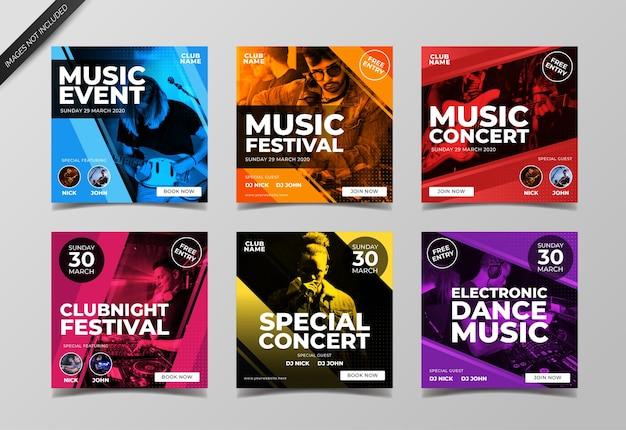 Social media banner vorlage des musikfestivals