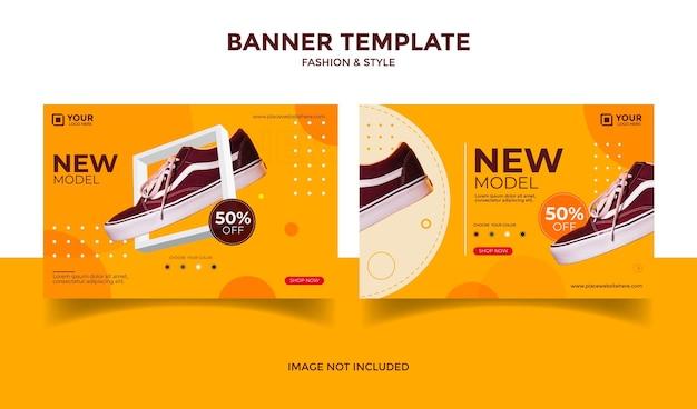 Social media-banner-vorlagenpost für modegeschäft und orange hintergrundfarbe des ladens