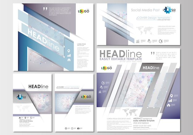 Social-media-beiträge eingestellt. cover-designvorlage. molekülstruktur
