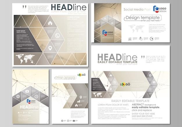 Social media beiträge festgelegt. geschäftsvorlagen. abstrakte vorlage, layouts in gängigen formaten. technologie, wissenschaft, medizin. goldene punkte und linien, digitaler stil. linien plexus.