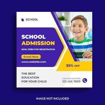 Social-media-beitrag für den schuleintritt und quadratische vorlage für webbanner