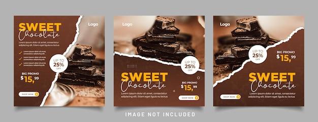 Social-media-beitrag mit süßer schokolade