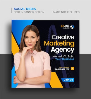 Social-media-beitrag oder instagram-banner des unternehmens