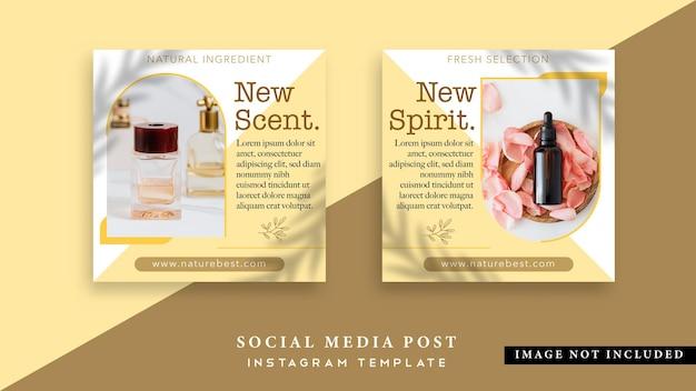 Social-media-beitrag zu schönheitsprodukten