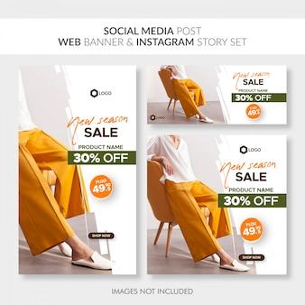 Social media-beitragsnetzfahne und instagram geschichtensatz