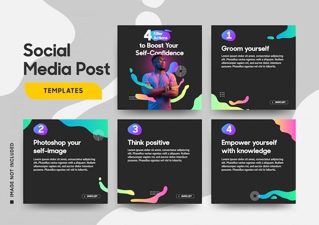 Social media-beitragsschablone mit kühlen flüssigen elementen