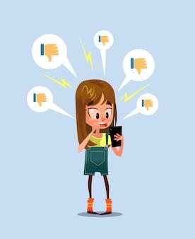 Social media belästigung trolling cyber-mobbing-konzept, cartoon flache illustration
