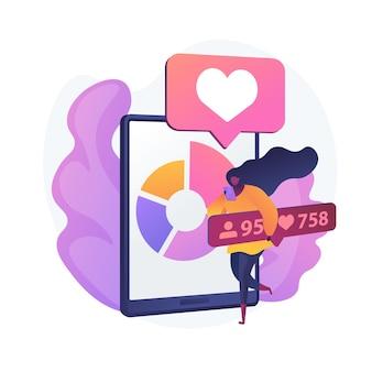 Social media blogging marketing. entwicklung des smartphone-app-designs. online-netzwerk-influencer-charakter. internet-werbung, follower, zieht gerne an.