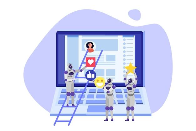Social media bots fake accounts konzept automatisierungsmethode, um follower zu gewinnen