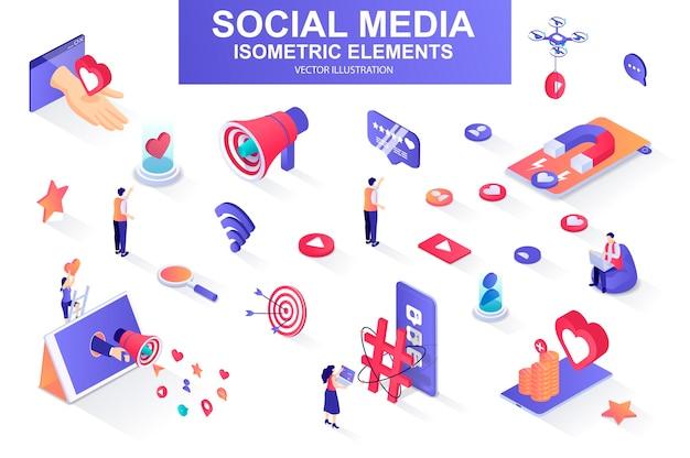 Social-media-bündel isometrischer elemente illustration