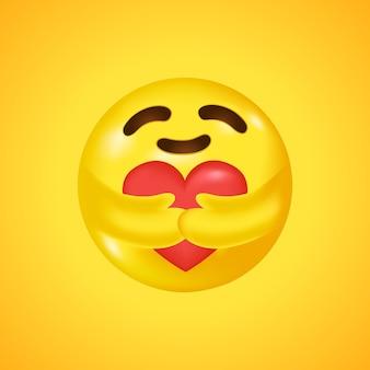 Social media care emoji umarmt ein herz. symbol für fürsorge und unterstützung. großes lächeln in 3d. .