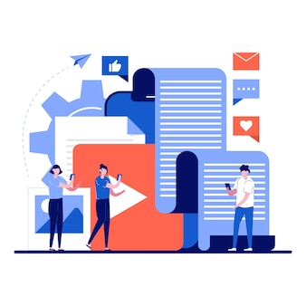 Social-media-content-technologie-konzept mit winzigem charakter.
