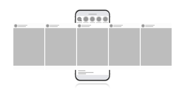 Social media design-konzept auf einem weißen hintergrund. smartphone mit karussellschnittstellenbeitrag im sozialen netzwerk. moderne flache artillustration.
